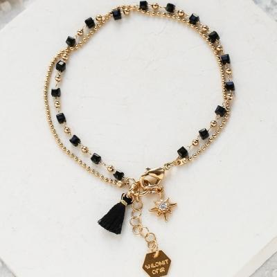 Bracelet Mythos noir doré