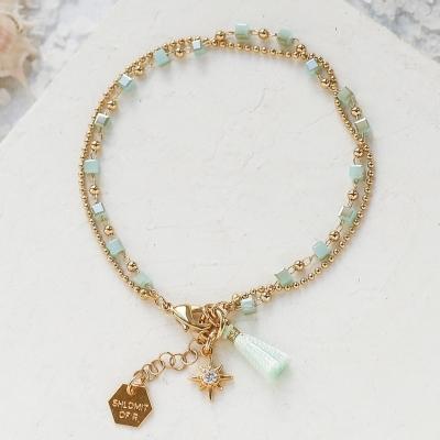 Bracelet Mythos vert doré