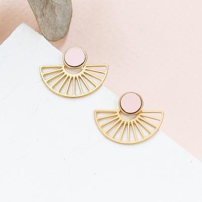 Boucles d'oreilles Rim dorées à l'or fin rose