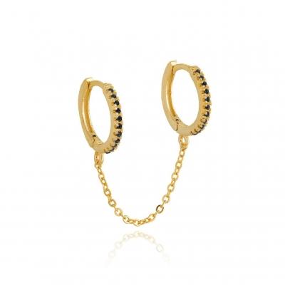 Boucles d'oreilles doubles Byron noir dorées à l'or fin