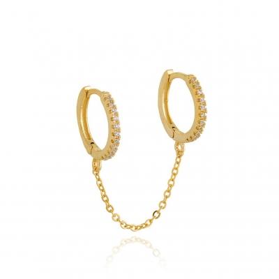 Boucles d'oreilles doubles Byron cristal dorées à l'or fin