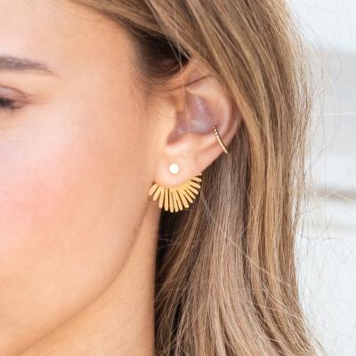 Boucles d'oreilles Ear Jackets Palma dorées à l'or fin