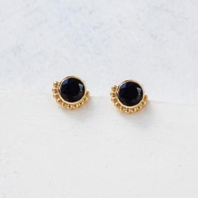 Boucles d'oreilles Flor noir dorées à l'or fin