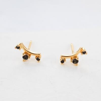 Boucles d'oreilles Crown noires dorées à l'or fin