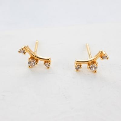 Boucles d'oreilles Crown cristal dorées à l'or fin