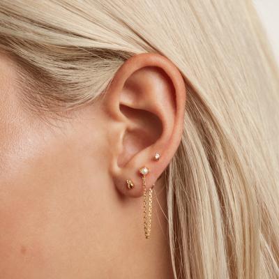 Boucles d'oreilles Charlie dorées à l'or fin