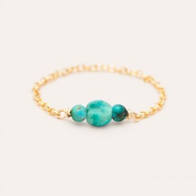 Bague chaîne chance pierres or jaune turquoise