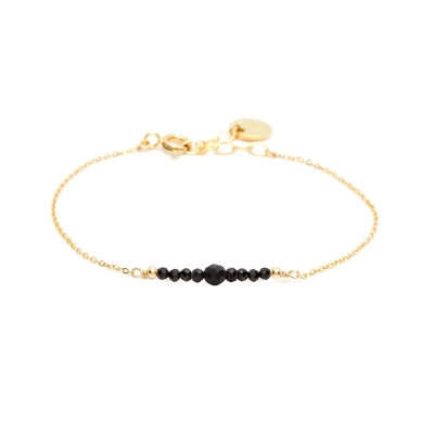 Bracelet Chance pierres Or jaune Spinelle Noire