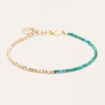 Bracelet Queen Bi-colore Or jaune turquoise