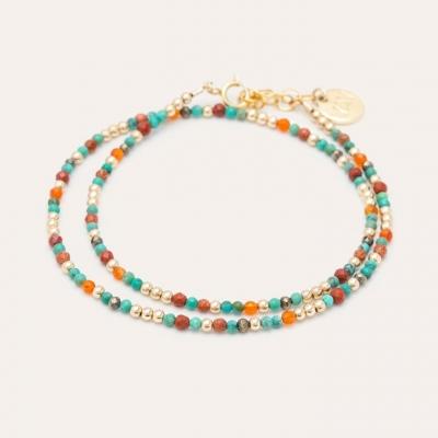 Bracelet Queen Double or jaune turquoise et orange