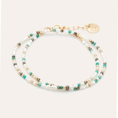 Bracelet Queen Double or jaune blanc et turquoise