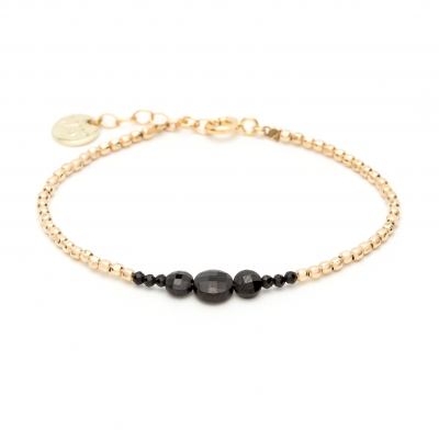 Bracelet Queen bouton Or jaune noir