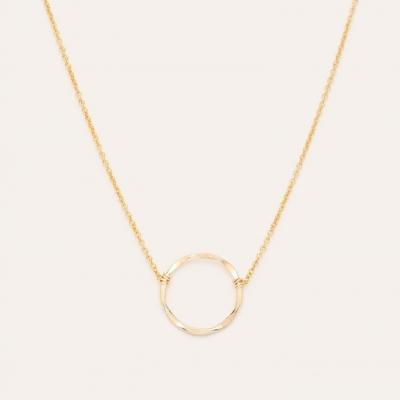 Collier essentiel anneau or jaune sans pierre