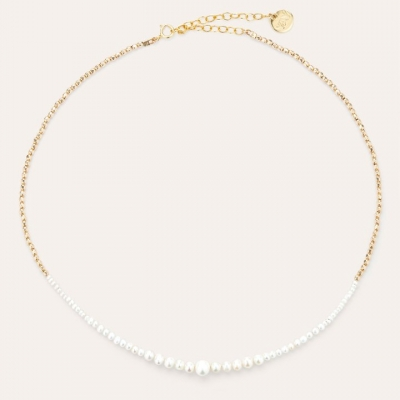 Collier Queen bouton Or jaune blanc