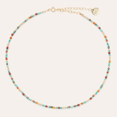 Collier Queen pierres or jaune turquoise et orange