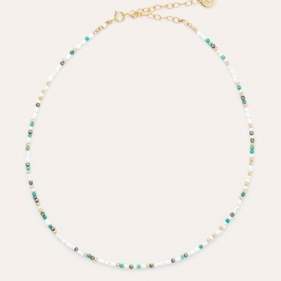 Collier Queen pierres or jaune blanc et turquoise
