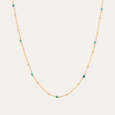 Collier Satellite Turquoise Or jaune