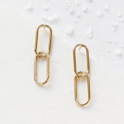 Boucles d'oreilles Alpha dorées