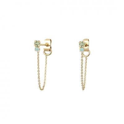 Boucles d'oreilles chaînes Amants chrysolite