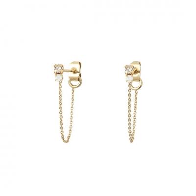 Boucles d'oreilles chaînes Amants cristal