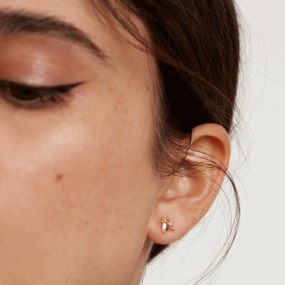 Boucles d'oreilles Buzz dorées à l'or fin