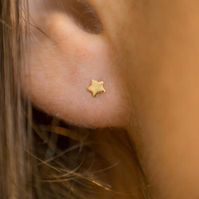 Boucles d'oreilles puces mini étoile doré