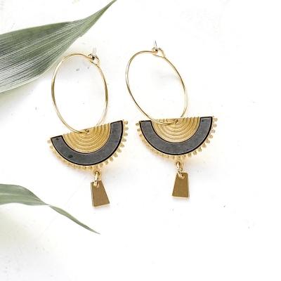 Boucles d'oreilles Swahili béton noir