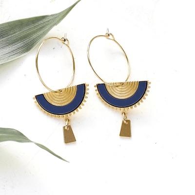 Boucles d'oreilles Swahili bleu marine