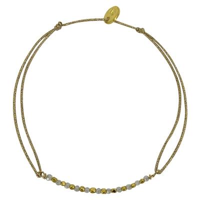 Bracelet Longmont - zircon et billes plaquées or