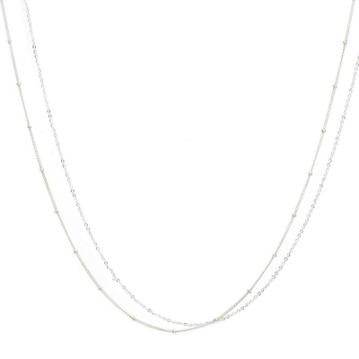 Collier Satellite Double Argent