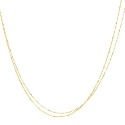 Collier Satellite Double Or jaune