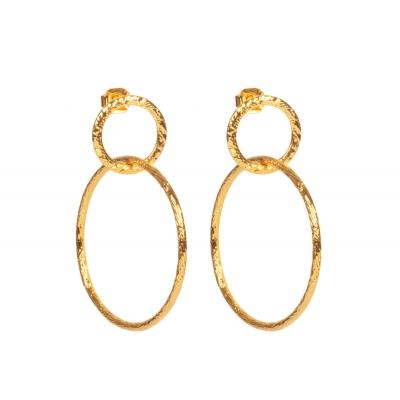 Boucles d'oreilles Double anneaux texturés S