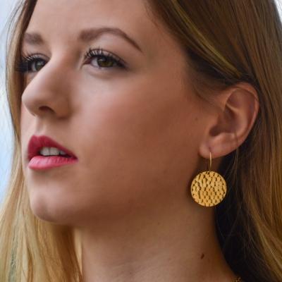 Grandes boucles d'oreilles Syracuse dorées à l'or fin