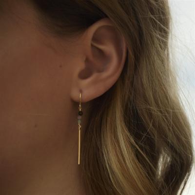 Boucle d'oreille Mina 3 tourmalines doré à l'or fin