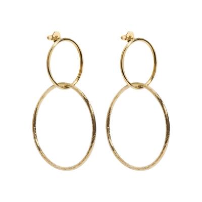 Boucles d'oreilles double anneaux texturés