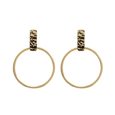 Boucles d'oreilles barre martelé et anneau
