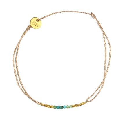 Bracelet Love Land - tuquoise et billes plaquées or