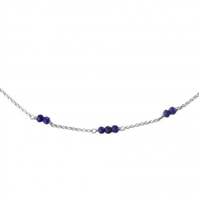 Collier Mina 5 lapis-lazuli plaqué argent