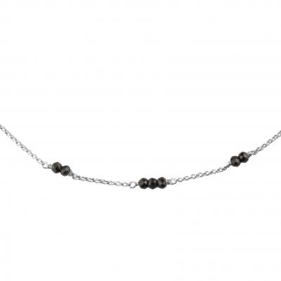 Collier Mina 5 spinelle noire plaqué argent