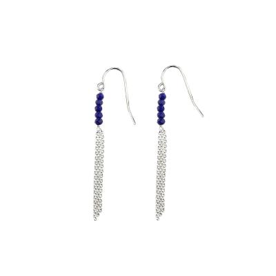 Boucles d'oreilles Mina 5 lapis-lazuli plaquées argent