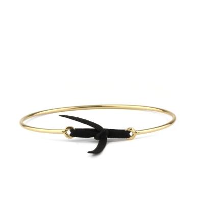Bracelet jonc Stella nubuck noir