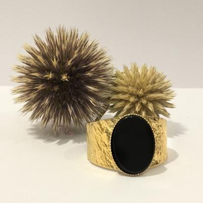 Bague L texturée pierre agate noire