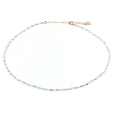Collier Dumbo amazonite doré à l'or fin