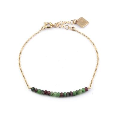 Bracelet Mina 13 rubis zoisite doré à l'or fin