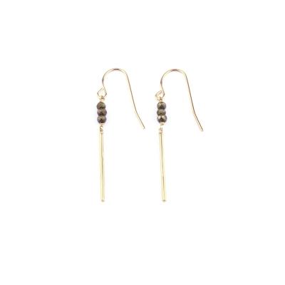 Boucle d'oreille Mina 3 pyrite doré à l'or fin