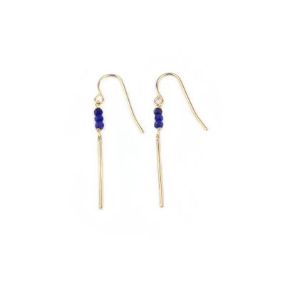 Boucle d'oreille Mina 3 lapis lazuli doré à l'or fin