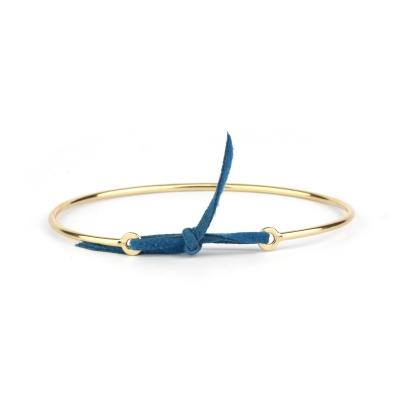 Bracelet jonc Stella nubuck bleu