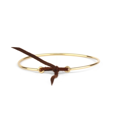 Bracelet jonc Stella nubuck marron