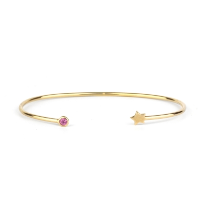 Bracelet jonc Constellation Etoile rose