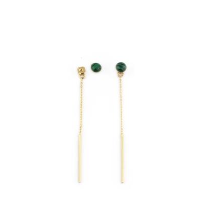Boucles d'oreilles Puce pierre et chaine malachite